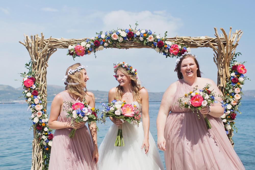Pink Bridesmaid Bridesmaids Dress Dresses Kefalonia Wedding Cotton Candy Weddings