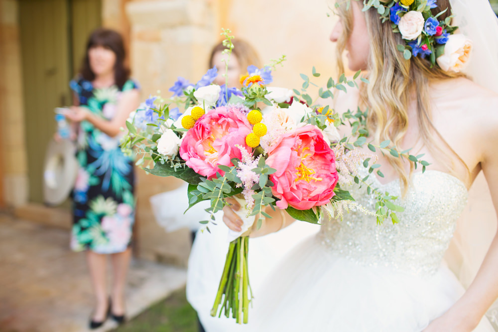Bride Bridal Flowers Bouquet Coral Peony Peonies Billy Balls Astilbe Eucalyptus Kefalonia Wedding Cotton Candy Weddings