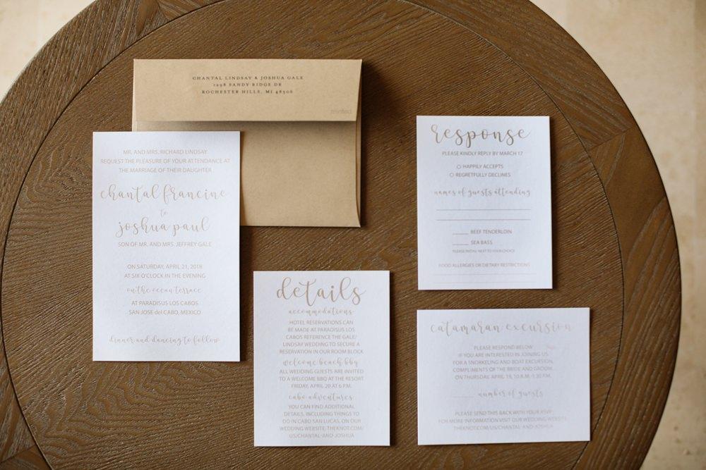 Gold Calligraphy Stationery Invite Invitations Los Cabos Wedding Anna Gomes Photo