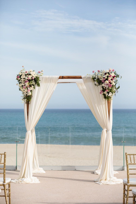 Ceremony Outdoor Beach Sea Flowers Aisle Floral Arch Backdrop Los Cabos Wedding Anna Gomes Photo