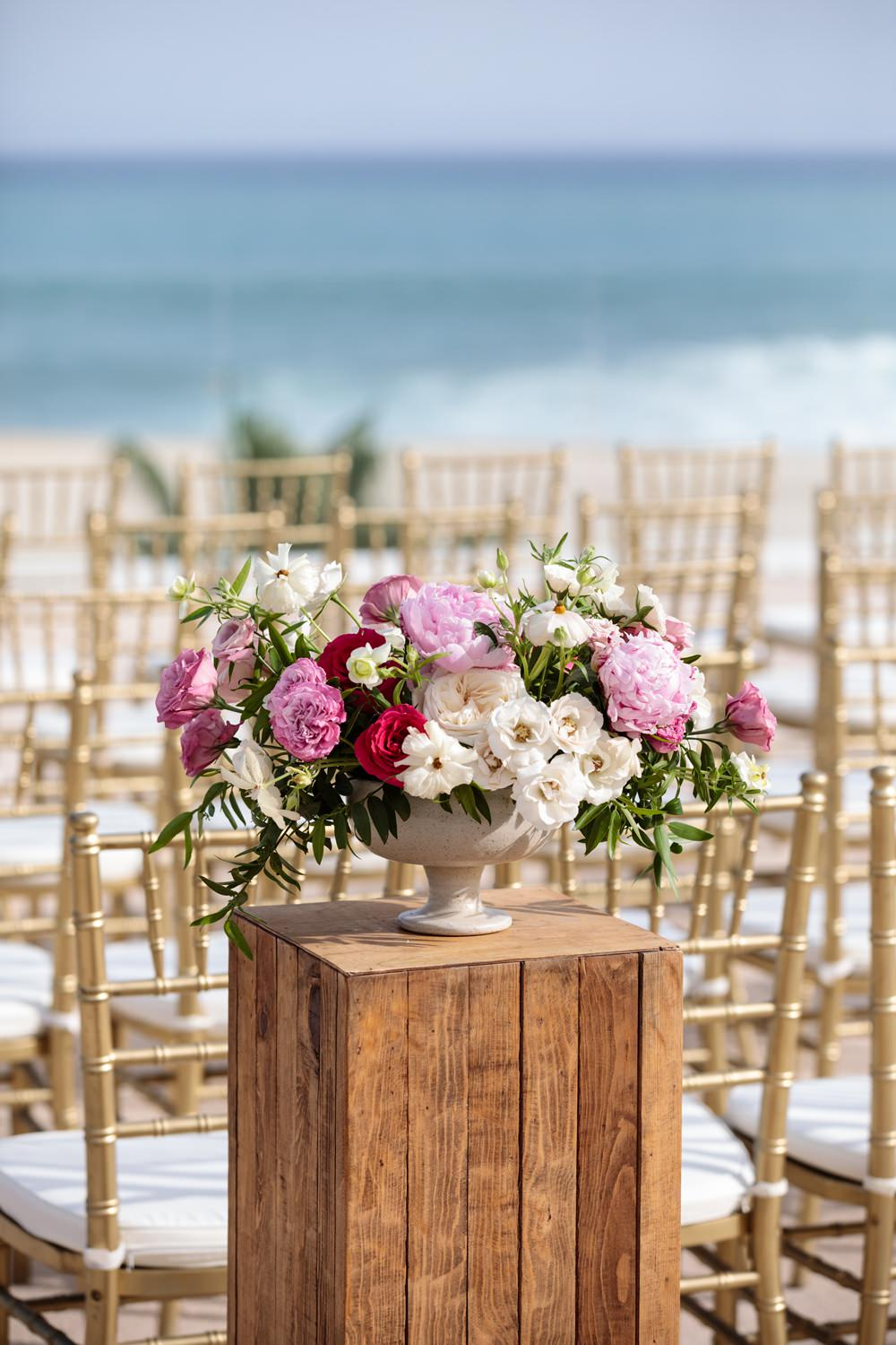 Flowers Floral Urn Arrangement Pink Peony Red Rose Cream Foliage Los Cabos Wedding Anna Gomes Photo