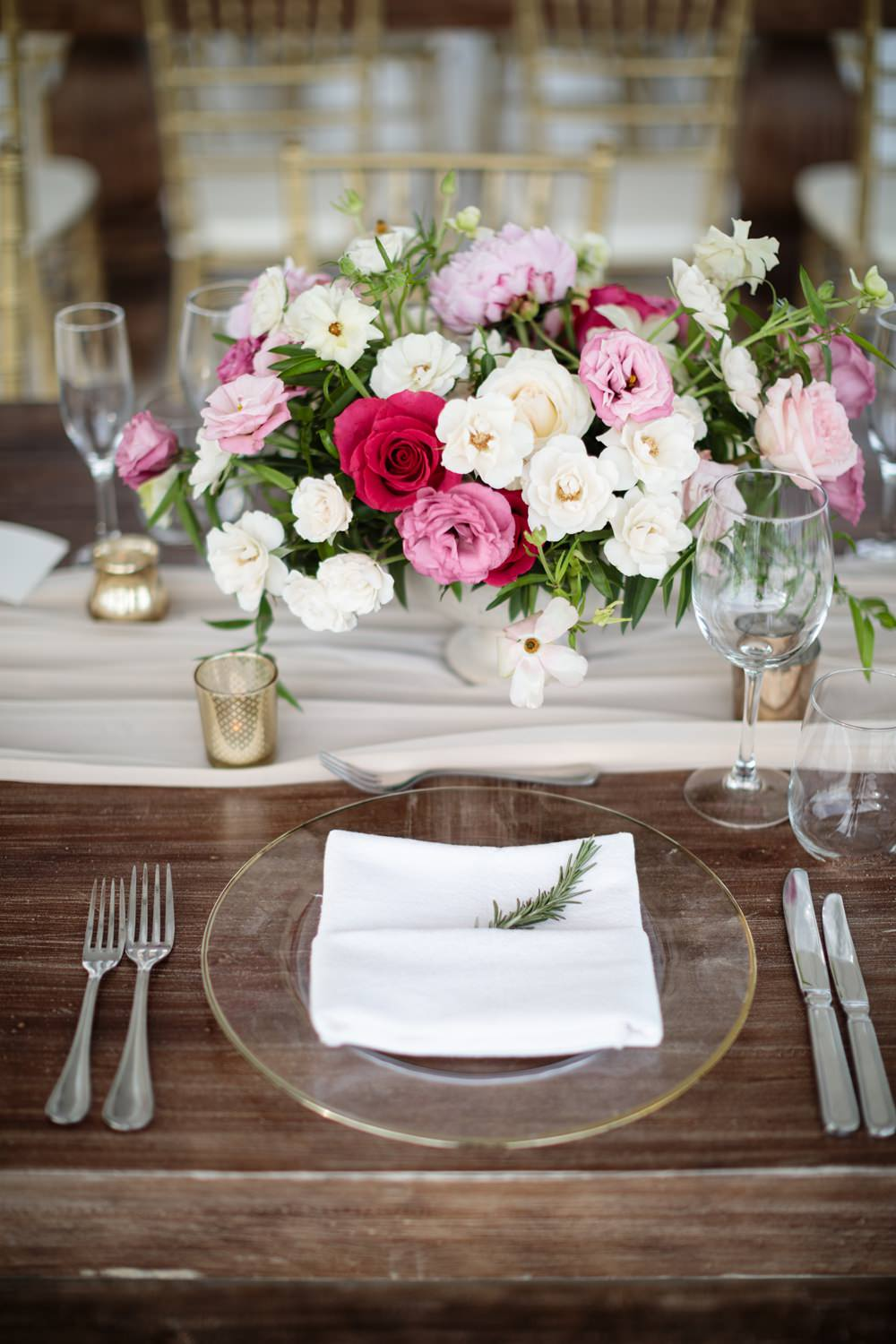 Rosemary Place Setting Flowers Centrepiece Los Cabos Wedding Anna Gomes Photo