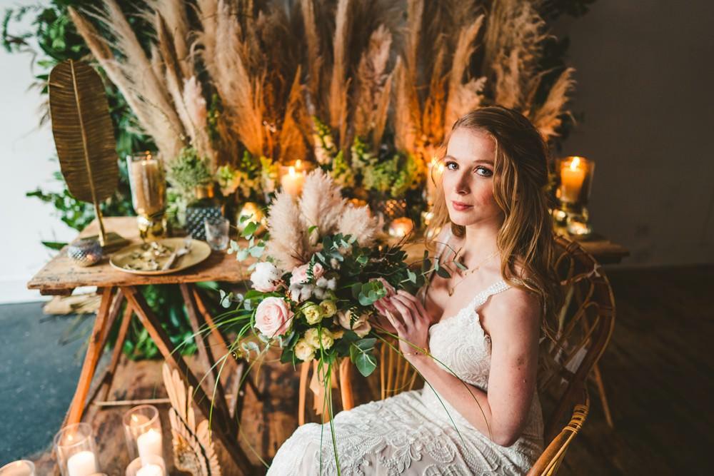 Table Tablescape Decor Flowers Centrepiece Candles Pampas Grass Wedding Ideas Tim Stephenson Photography