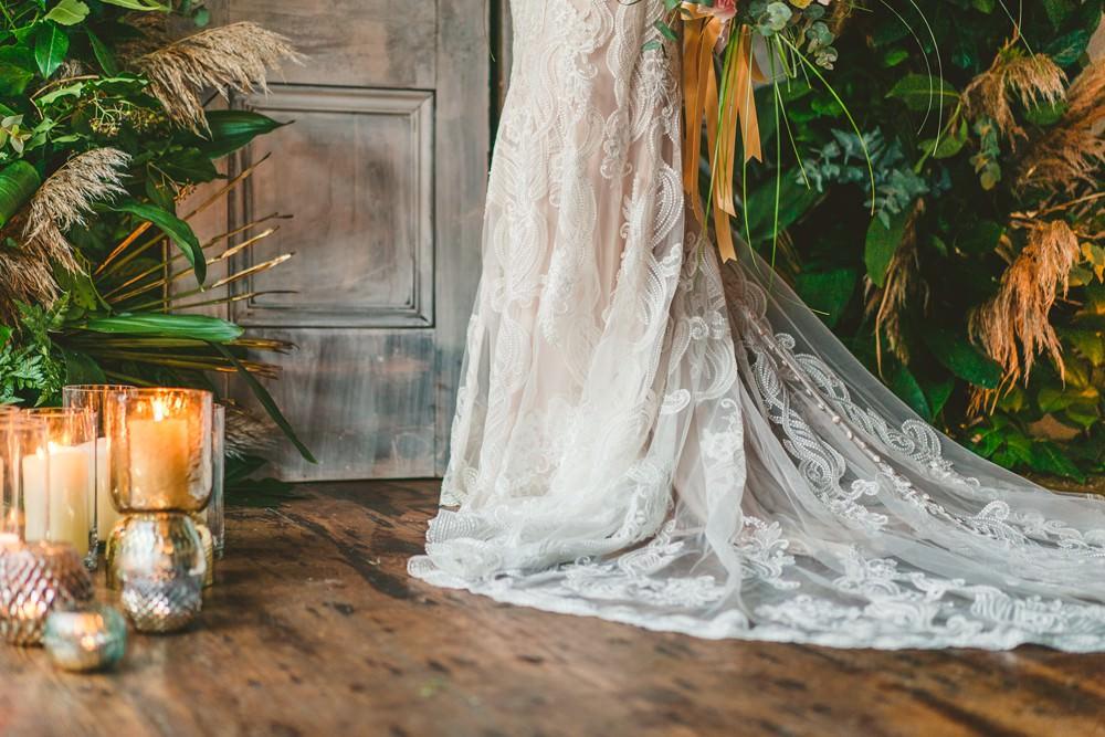 Dress Gown Bride Bridal Train Lace Pampas Grass Wedding Ideas Tim Stephenson Photography