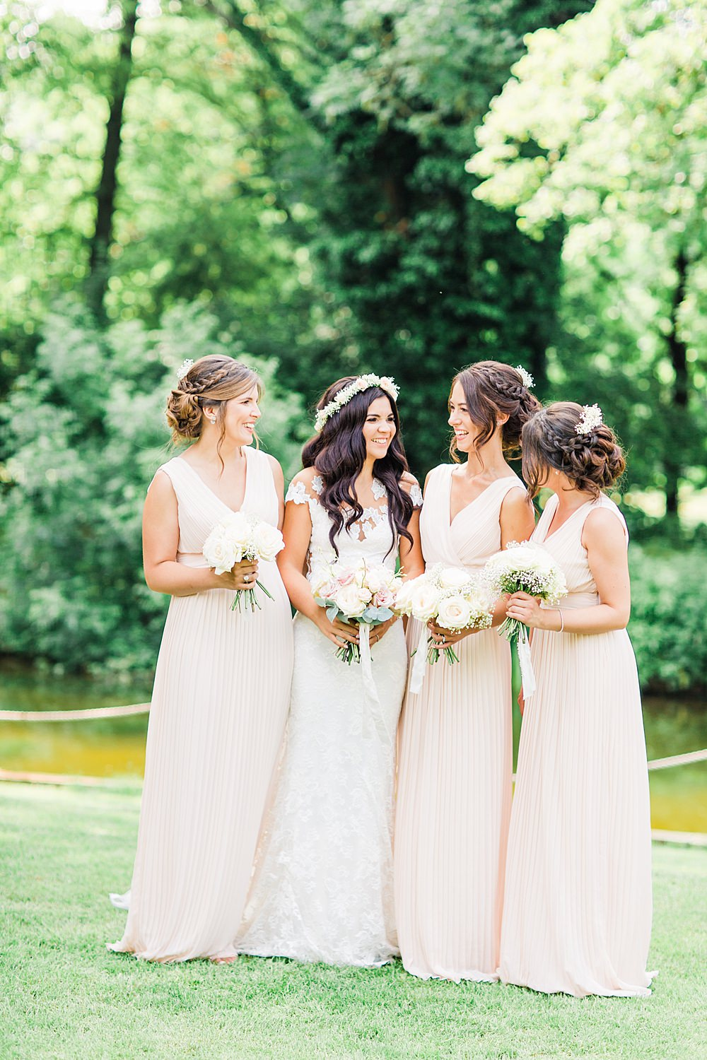 Bridesmaid Bridesmaids Dress Dresses Long Maxi Blush Pastel Sheene Mill Wedding Terri & Lori Photography and Film Studio