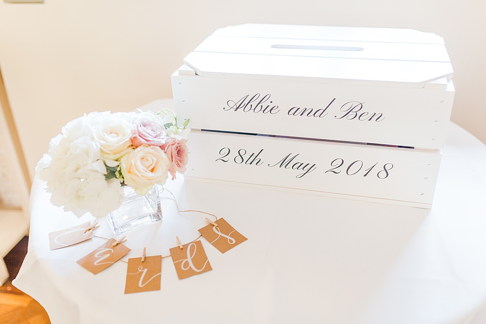 Card Box Calligraphy White Sheene Mill Wedding Terri & Lori Photography and Film Studio