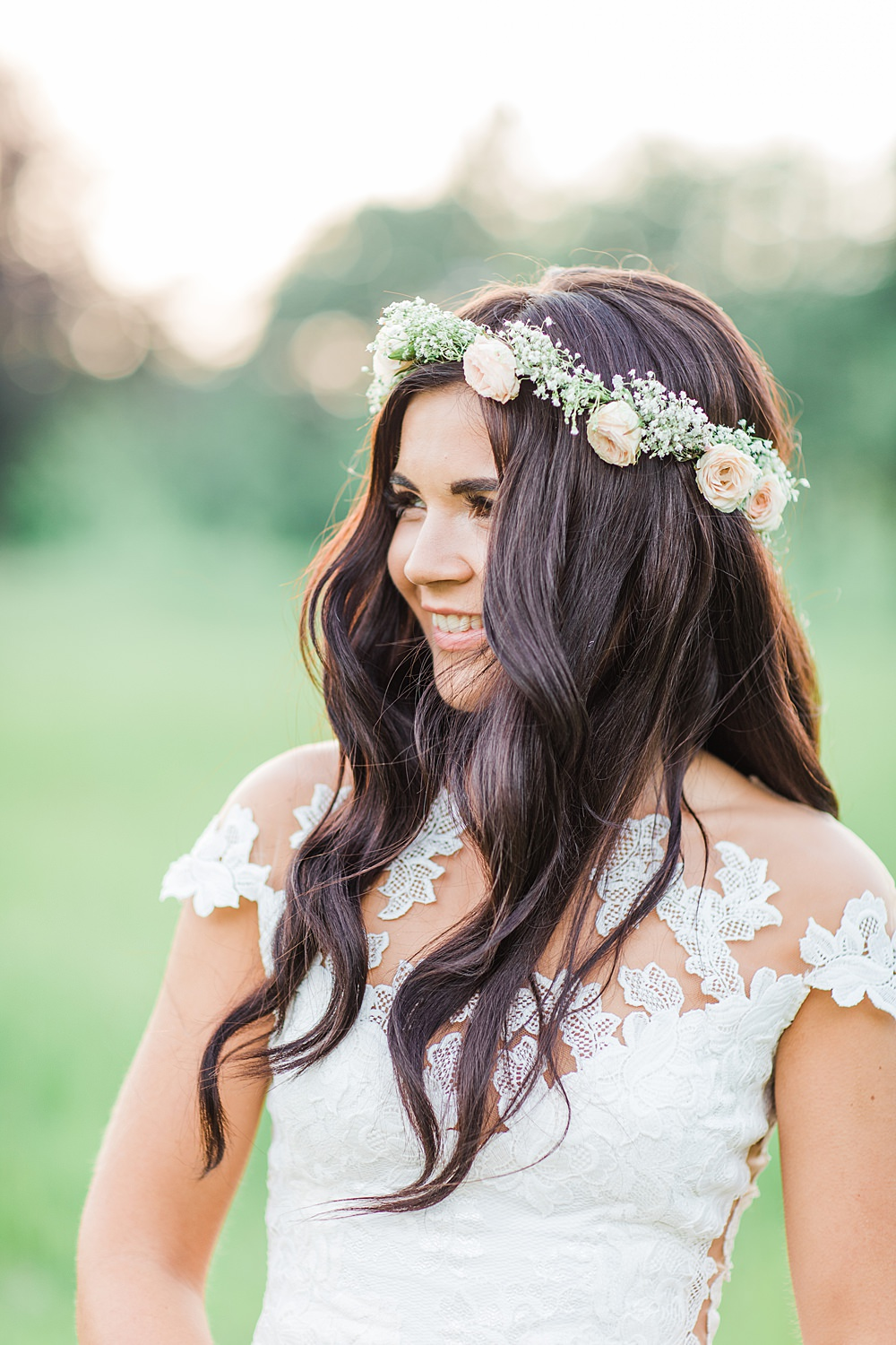 Bride Bridal Hair Flower Crown Long Waves Sheene Mill Wedding Terri & Lori Photography and Film Studio