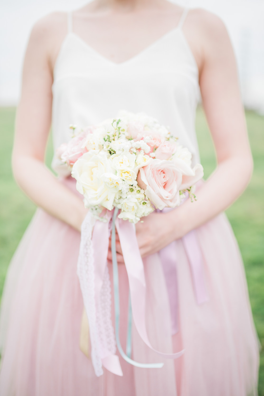 Bouquet Flowers Bride Bridal Bridesmaid Pastel Pink Rose Ribbon Springtime Bridal Shower Ideas Hen Party Laura Jane Photography