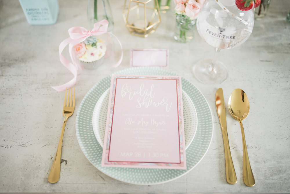 Place Setting Stationery Gold Cutlery Springtime Bridal Shower Ideas Hen Party Laura Jane Photography