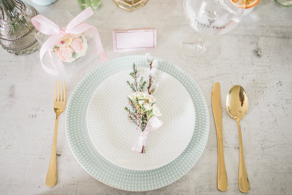 Place Setting Decor Gold Cutlery Flowers Springtime Bridal Shower Ideas Hen Party Laura Jane Photography
