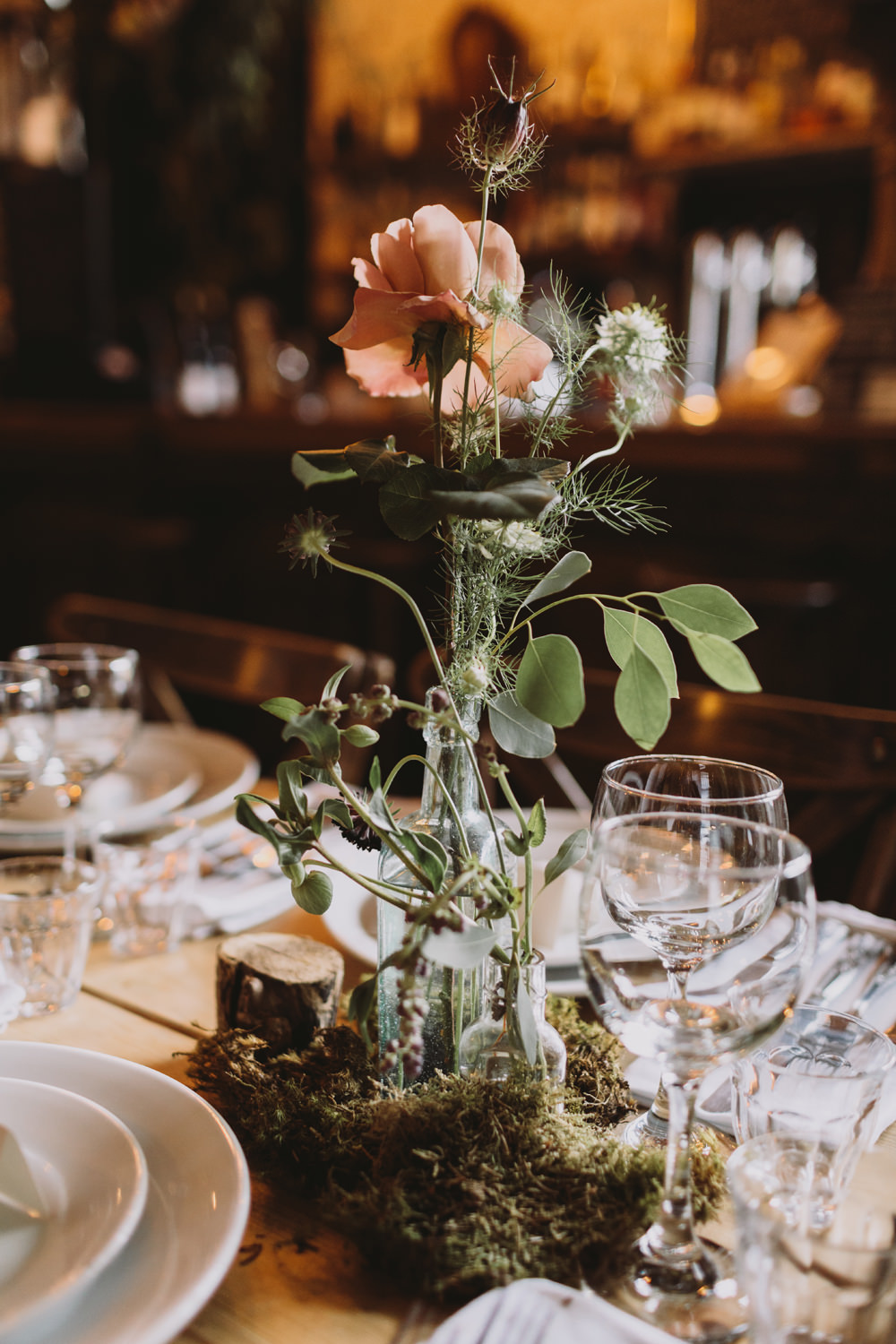 Table Centre Bottle Flowers Floral Greenery Moss Tram House Wedding Luke Hayden Photography