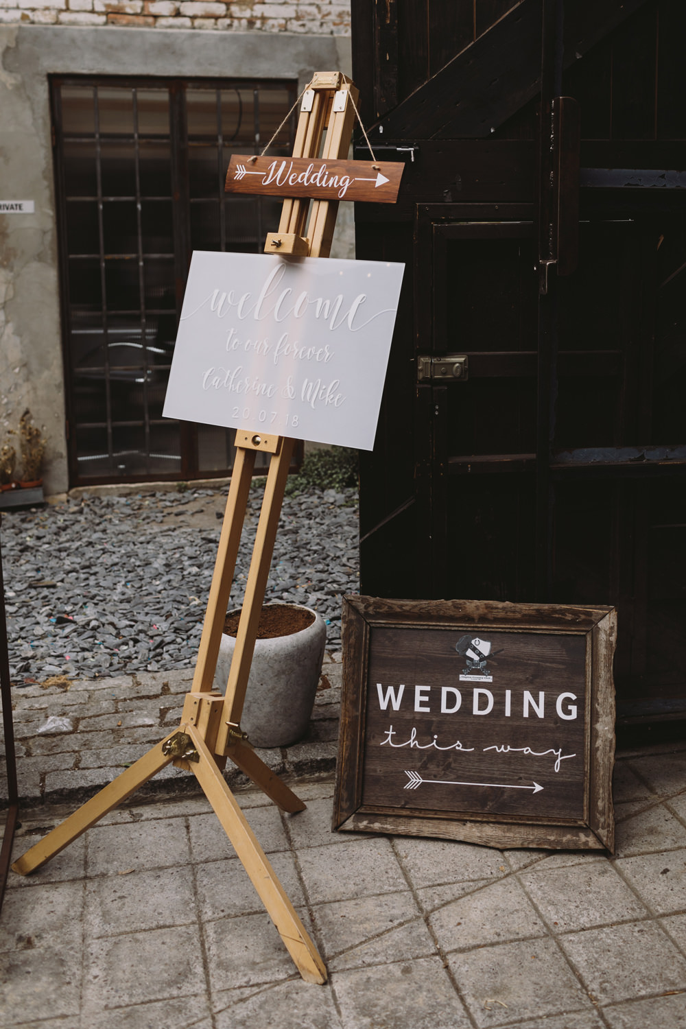 Welcome Sign Modern Calligraphy Brush Lettering Wooden Easel Tram House Wedding Luke Hayden Photography