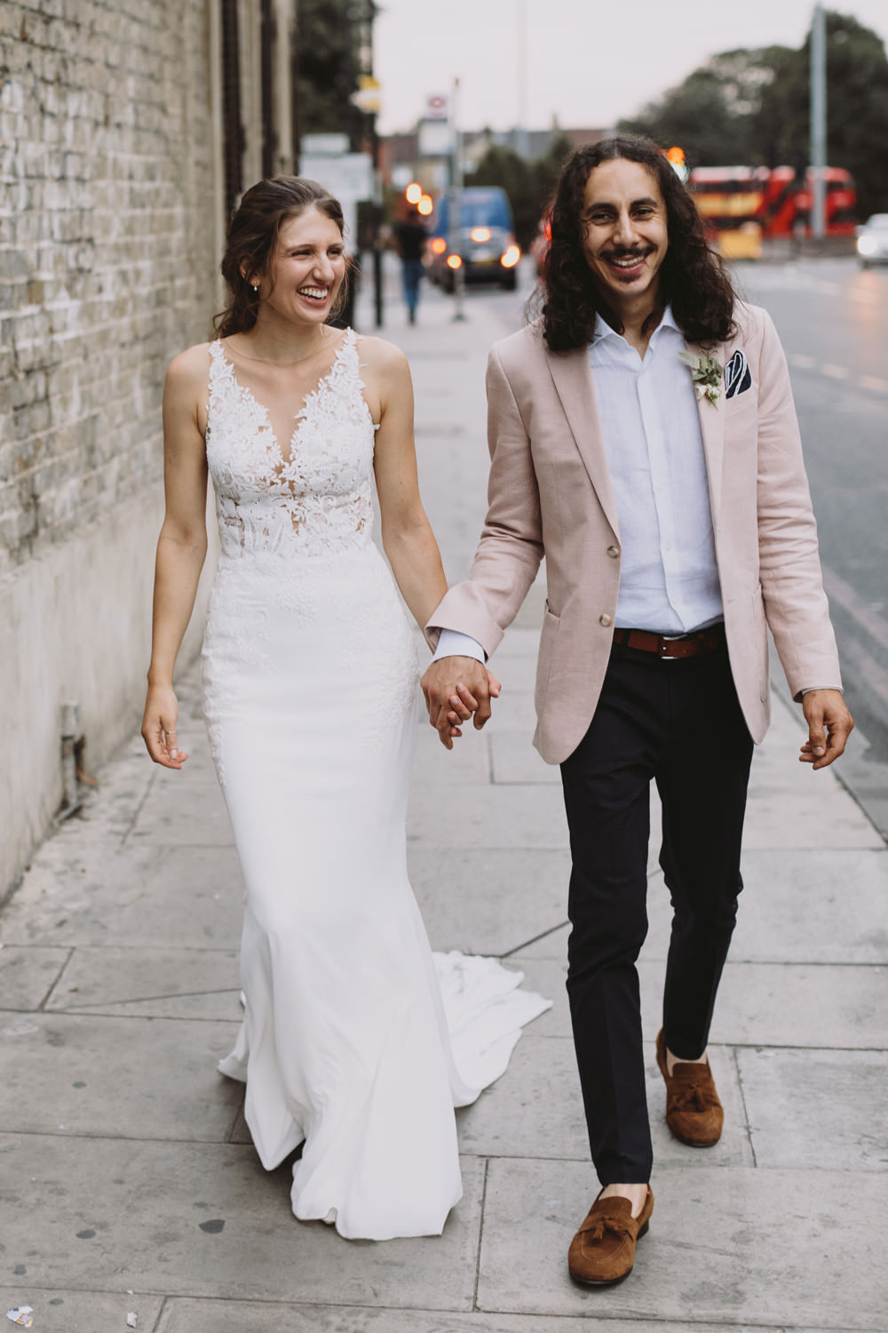 Bride Bridal Sleeveless V Neck Fit and Flare Train Pronovias Dress Gown Pink Jacket Reiss Groom Tram House Wedding Luke Hayden Photography