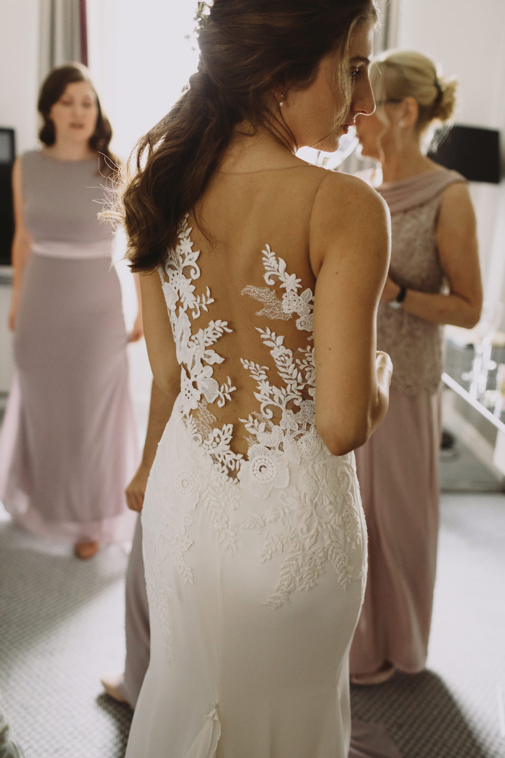 Bride Bridal Illusion Lace Pronovias Dress Gown Tram House Wedding Luke Hayden Photography