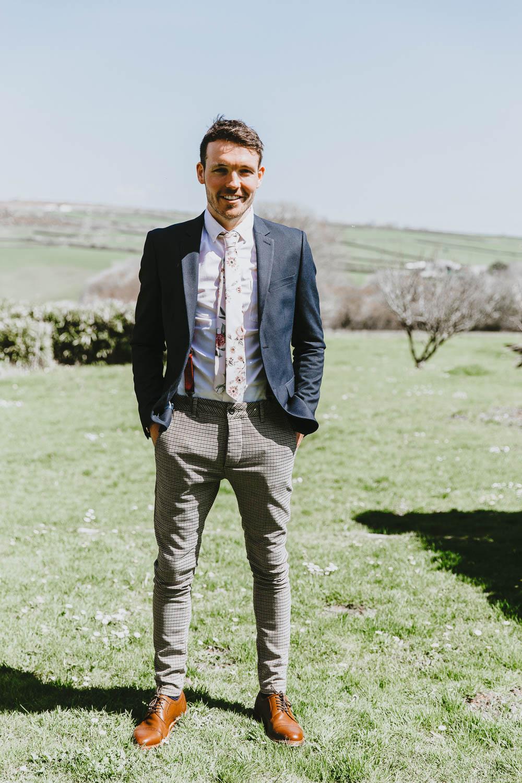 Groom Suit Style Look Blazer Chinos Floral Tie Braces Trevenna Barns Wedding Wild Tide Creative