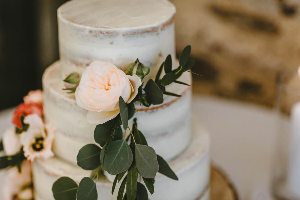 Semi Naked Cake Greenery Foliage Flowers Log Stand Trevenna Barns Wedding Wild Tide Creative