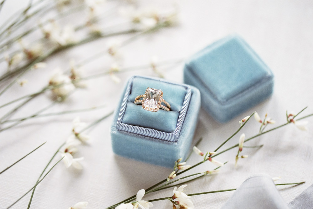 Velvet Ring Box Engagement Ring Winter Blue Barn Wedding Ideas Joanna Briggs Photography