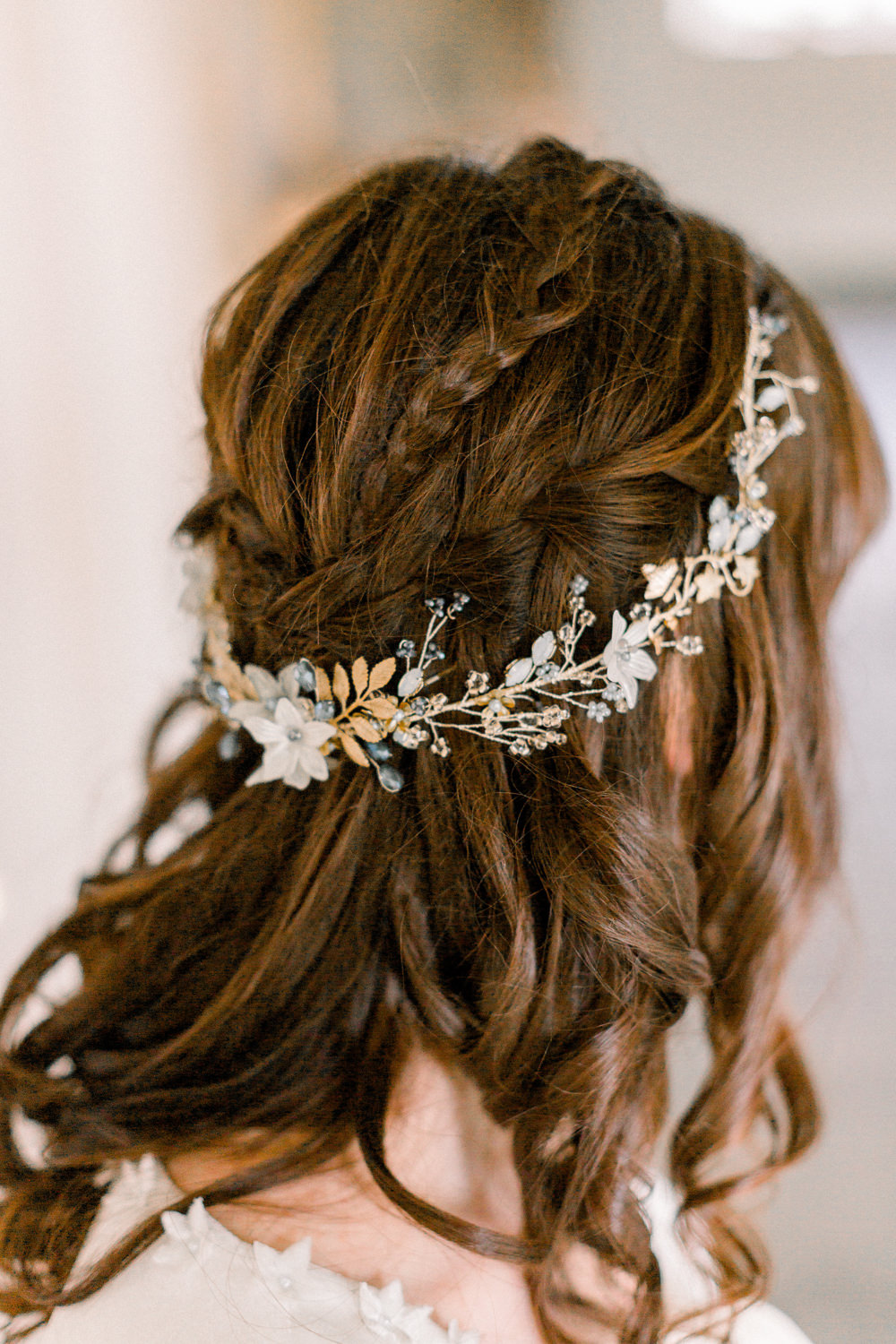 Bride Bridal Accessory Circlet Gold Leaf Hair Plaits Braids Style Up Do Winter Blue Barn Wedding Ideas Joanna Briggs Photography