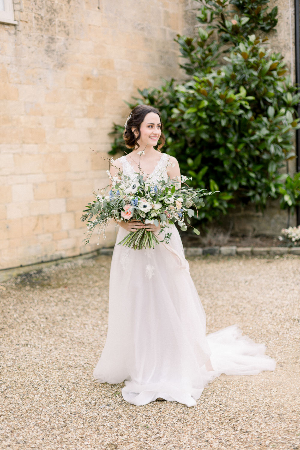 Dress Gown Bride Bridal Winter Blue Barn Wedding Ideas Joanna Briggs Photography