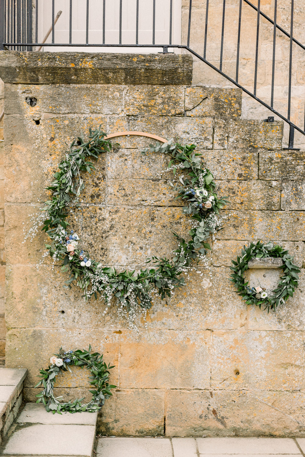 Hoop Wreaths Greenery Folliage Backdrop Winter Blue Barn Wedding Ideas Joanna Briggs Photography