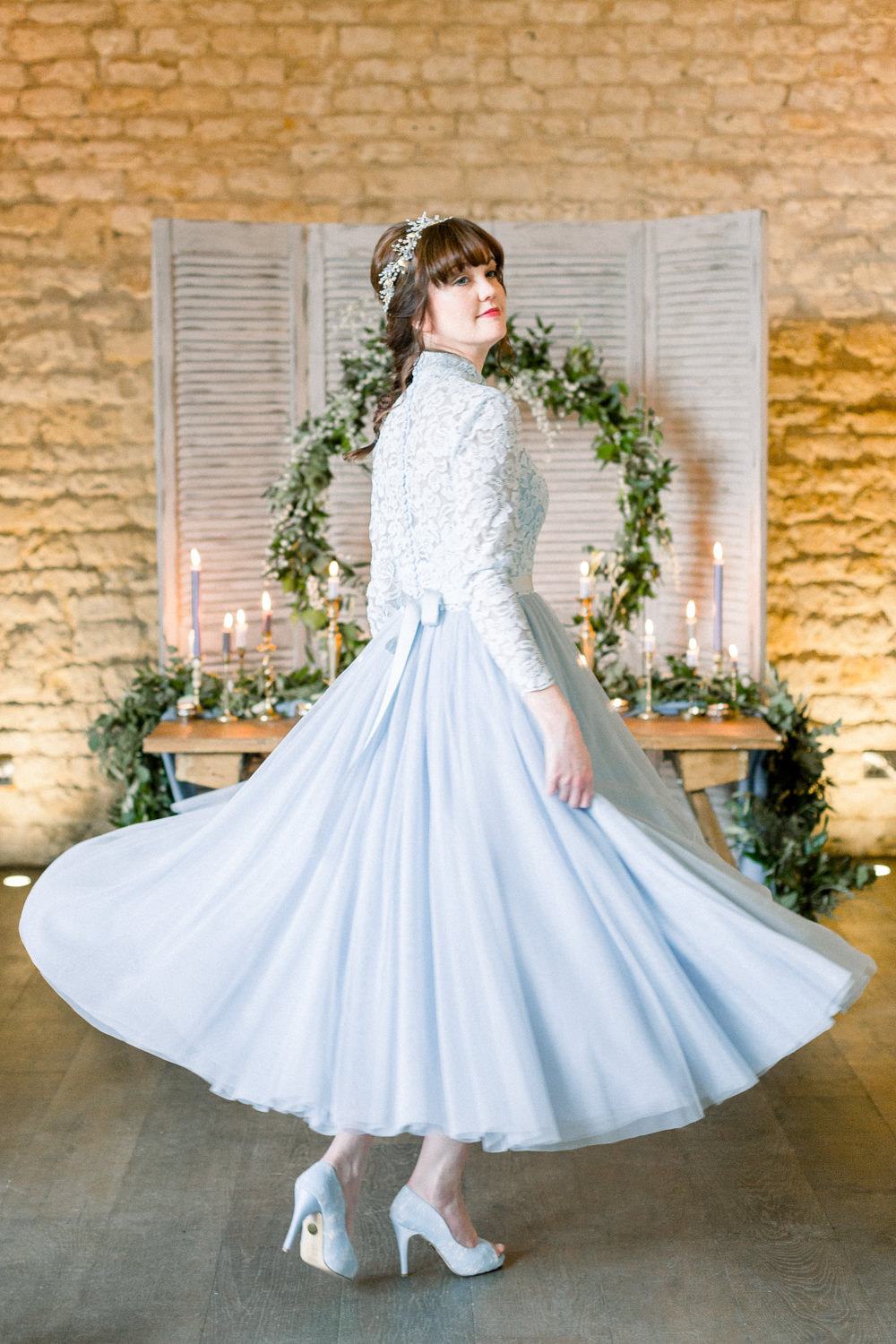 Dress Gown Bride Bridal Lace Sleeves Short Tea Length Winter Blue Barn Wedding Ideas Joanna Briggs Photography