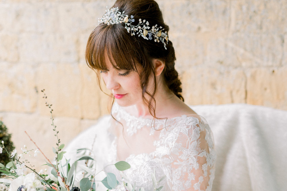 Bride Bridal Accessory Circlet Hair Winter Blue Barn Wedding Ideas Joanna Briggs Photography