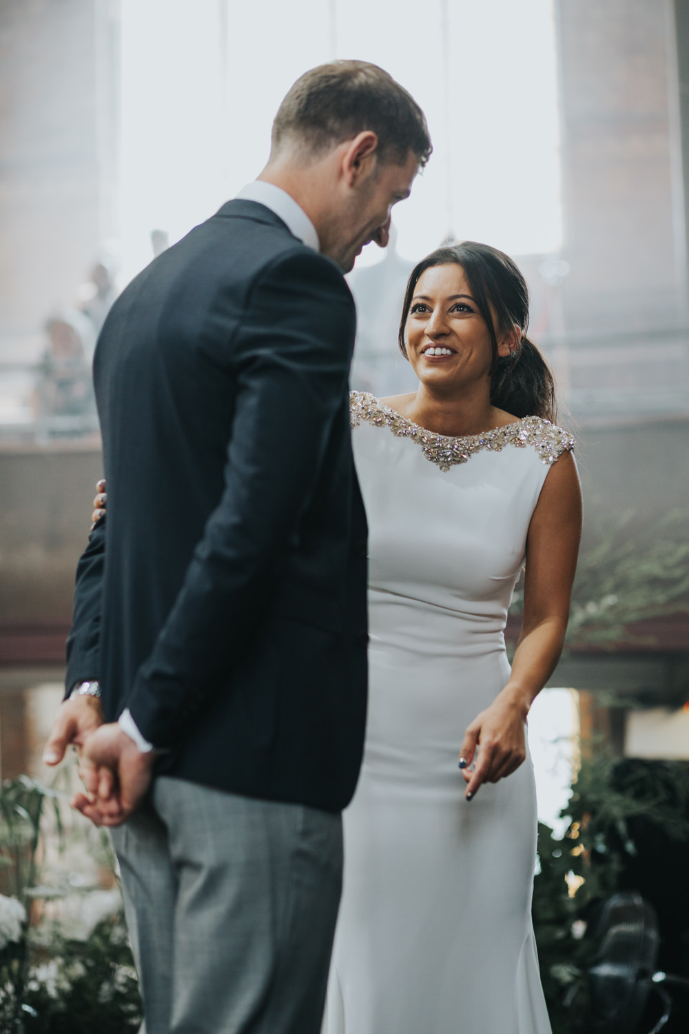 Pronovias Dress Gown Fit and Flare Embellished Sparkle Long Train Mismatched Suit Groom Albert Hall Manchester Wedding Katie Dervin Photography