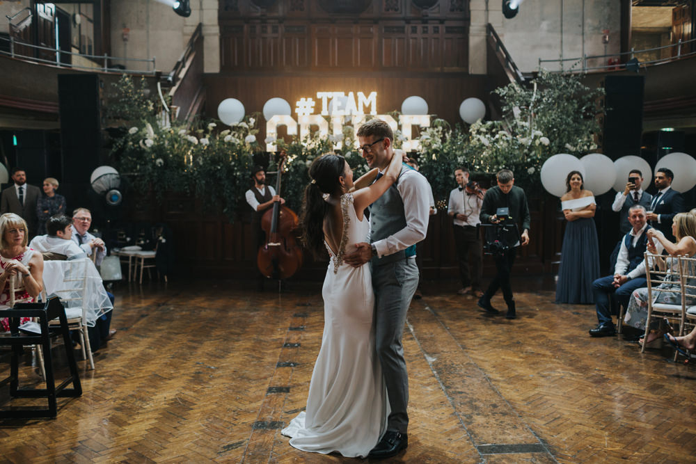 Pronovias Dress Gown Fit and Flare Embellished Sparkle Long Train Mismatched Suit Groom Large Helium Balloons Greenery Foliage Albert Hall Manchester Wedding Katie Dervin Photography