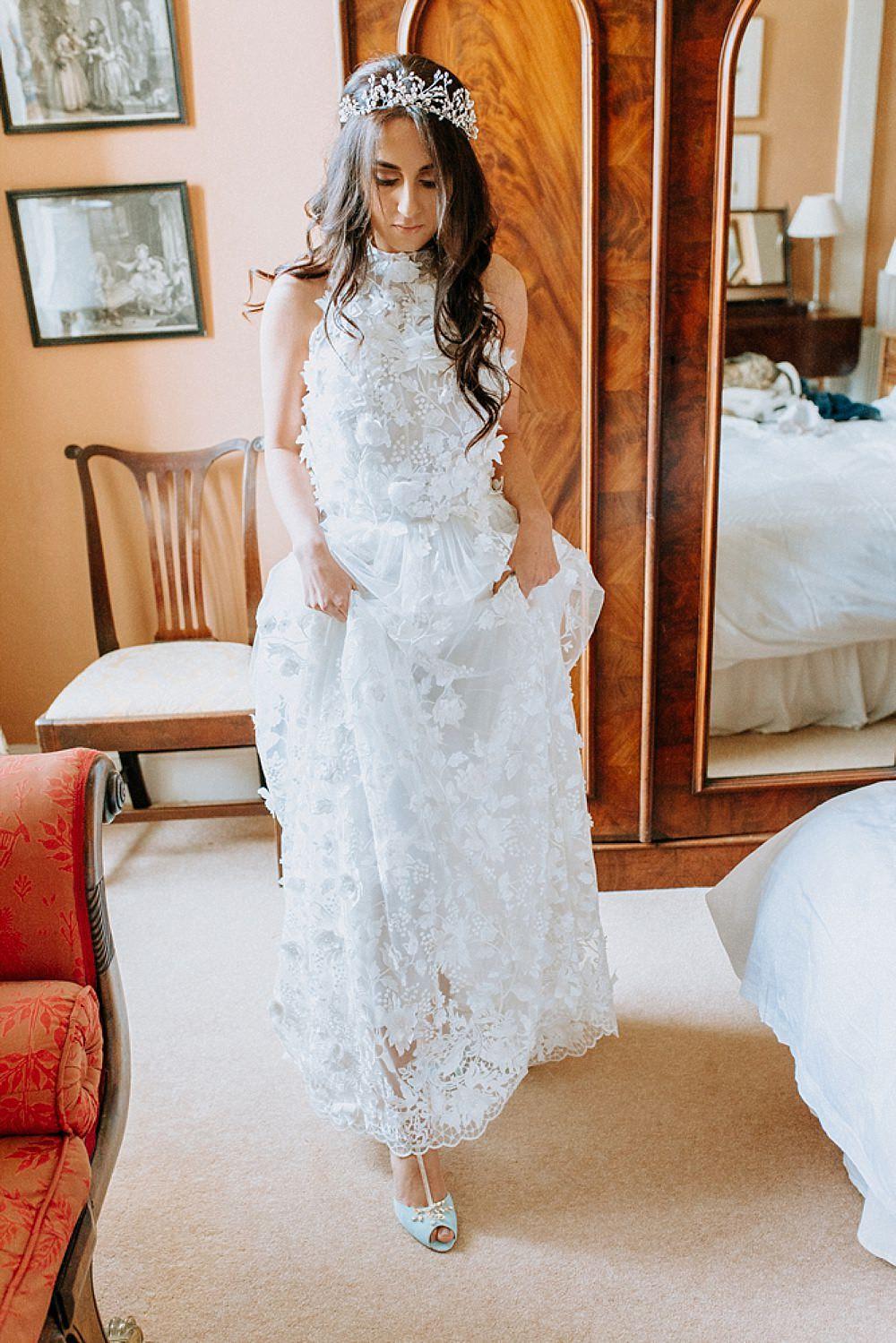 Dress Gown Bride Bridal Pronovias Flower Floral Applique Train Blue Gold Wedding Ideas Ailsa Reeve Photography