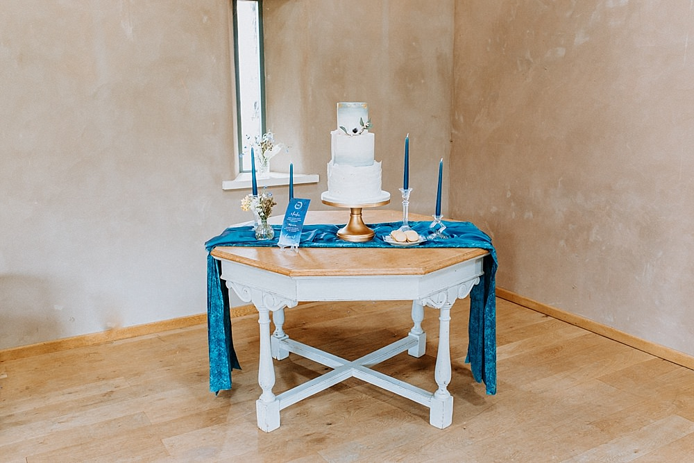 Cake Table Blue Gold Wedding Ideas Ailsa Reeve Photography
