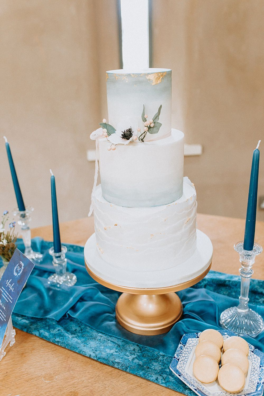 Cake Ruffle Ombre Gold Leaf Blue Gold Wedding Ideas Ailsa Reeve Photography