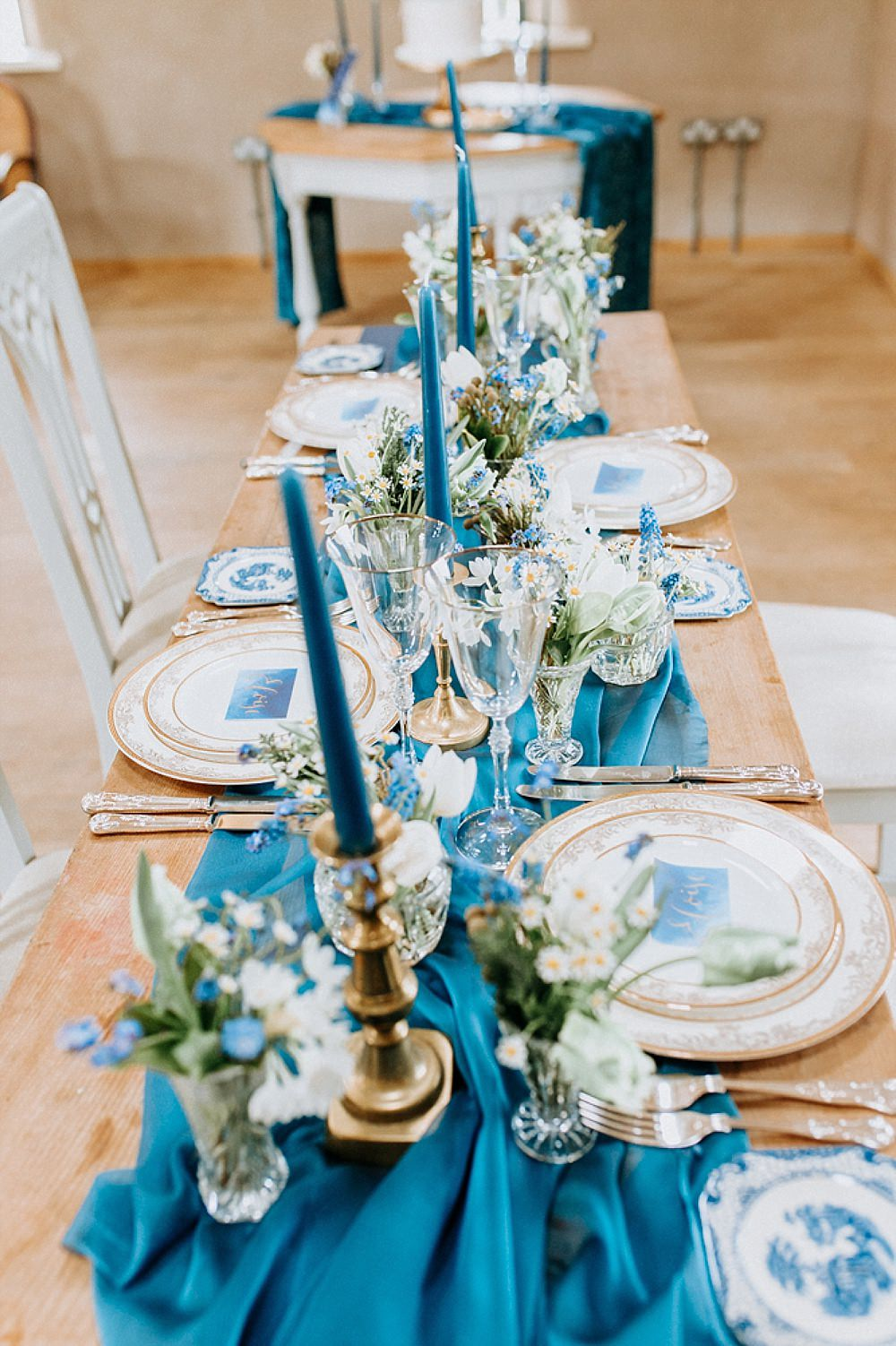 Table Tablescape Decor Decoration Runner Silk Candlesticks Flowers Blue Gold Wedding Ideas Ailsa Reeve Photography