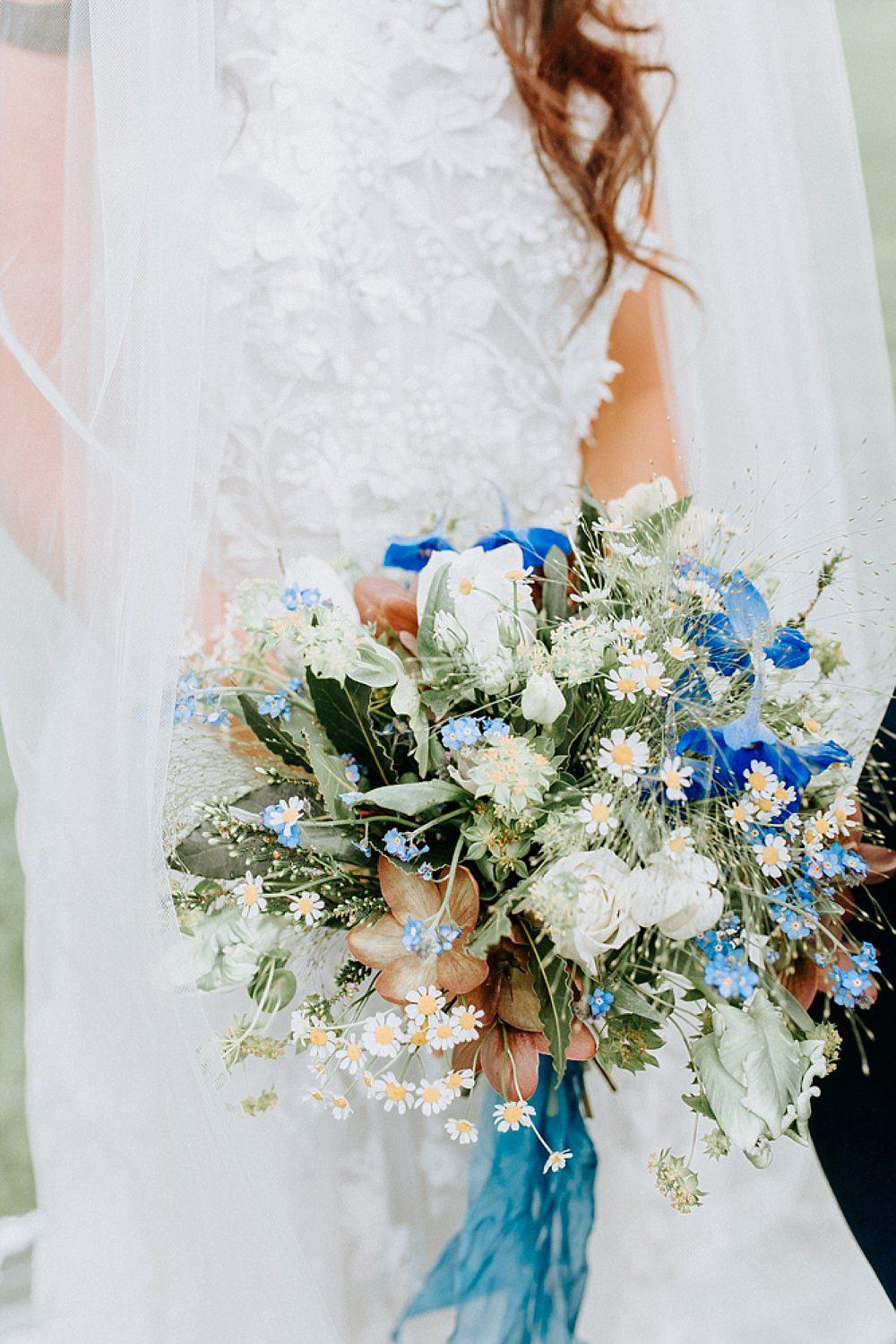 Bouquet Flowers Bride Bridal Ribbon Tulip Daisy Blue Gold Wedding Ideas Ailsa Reeve Photography