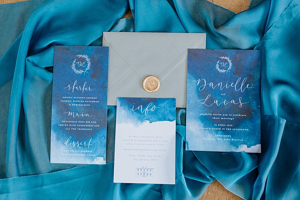 Stationery Invite Invitations Calligraphy Wax Seal Watercolour Blue Gold Wedding Ideas Ailsa Reeve Photography