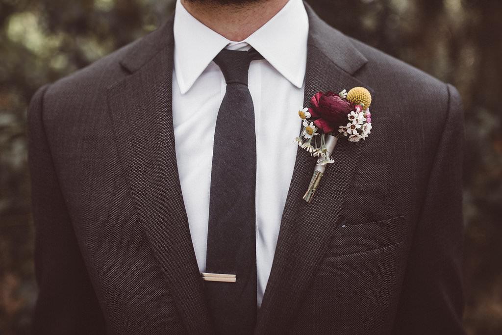 Groom Suit Black Tie Buttonhole Flowers Charleston Wedding Katherine Dalton Photography