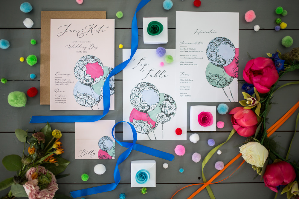 Stationery Invites Invitations Colourful Balloons Wedding Ideas Florence Berry Photography