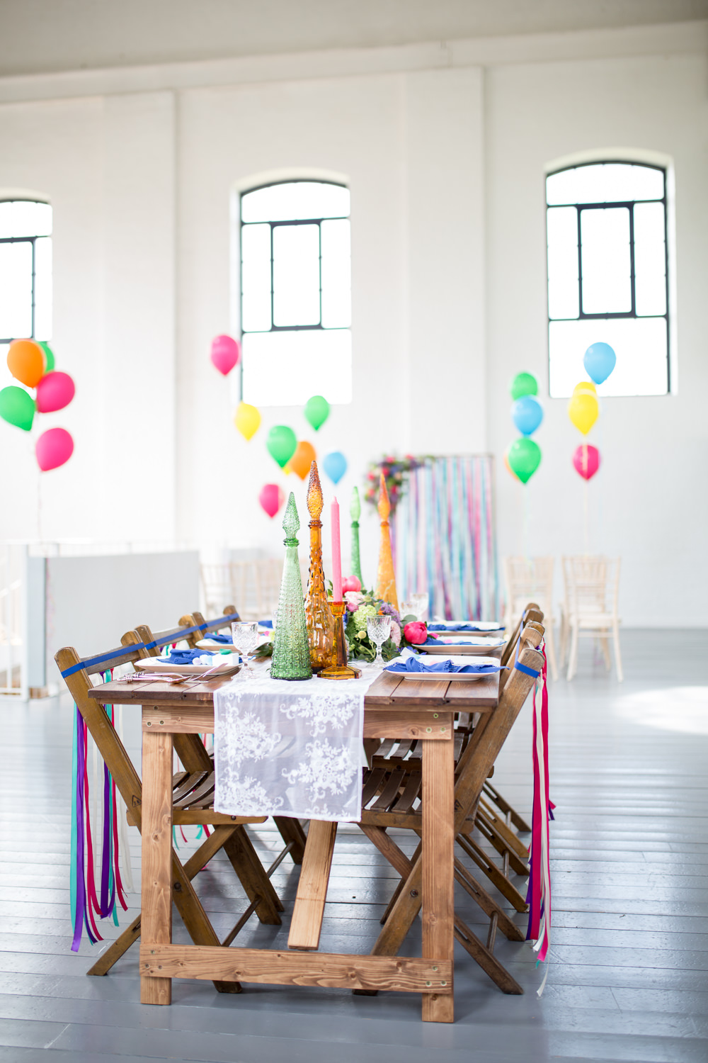 Tablescape Table Decor Decoration Ribbon Chairs Flowers Colourful Balloons Wedding Ideas Florence Berry Photography