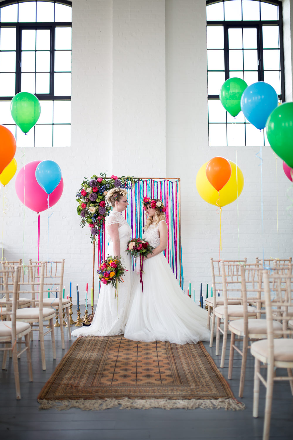 Ribbon Backdrop Arch Ceremony Aisle Flowers Colourful Balloons Wedding Ideas Florence Berry Photography