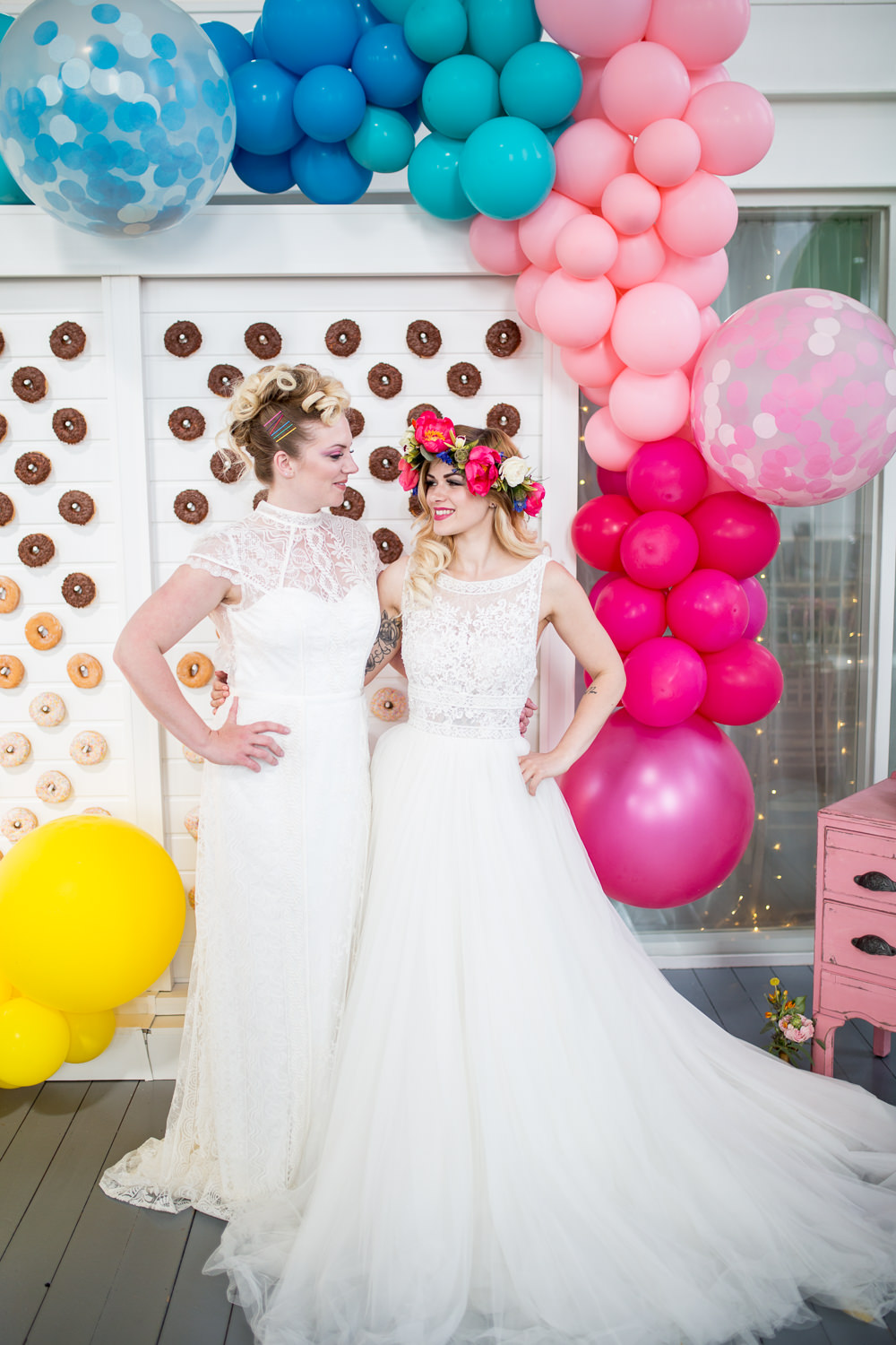 Balloon Installation Backdrop Decor Decoration Colourful Balloons Wedding Ideas Florence Berry Photography
