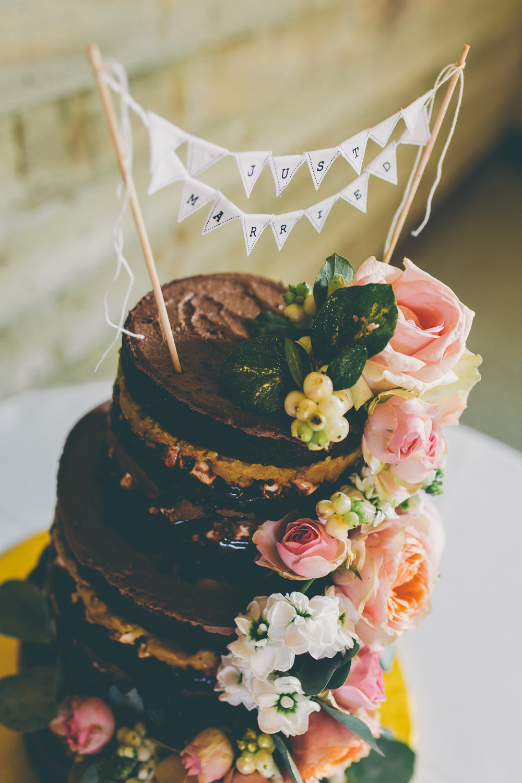 Naked Cake Chocolate Sponge Layer Flowers Floral Bunting Topper High Billinghurst Farm Wedding Larissa Joice Photography