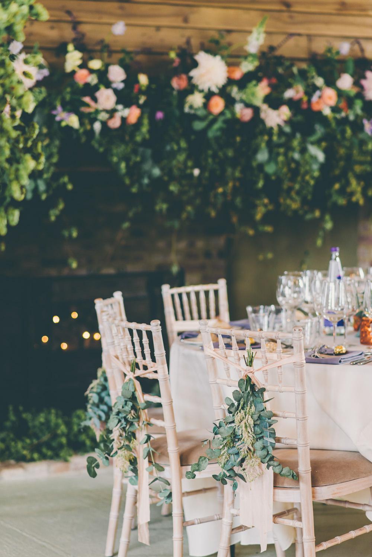 Chair Flowers Backs Greenery Foliage Ribbon High Billinghurst Farm Wedding Larissa Joice Photography