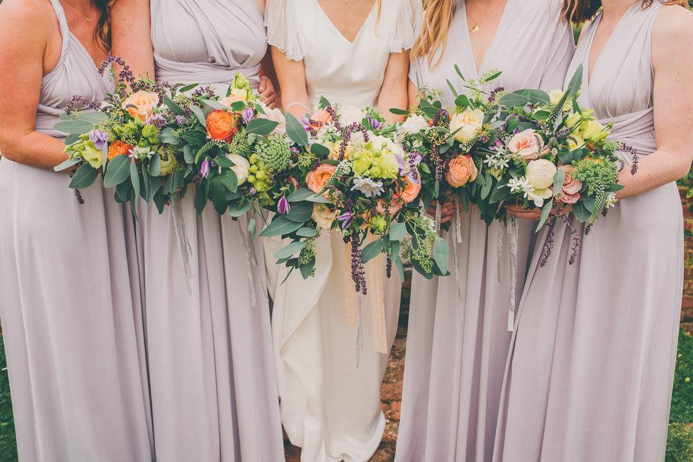 Bouquet Flowers Bride Bridal Peach Purple Rose Bridesmaids High Billinghurst Farm Wedding Larissa Joice Photography