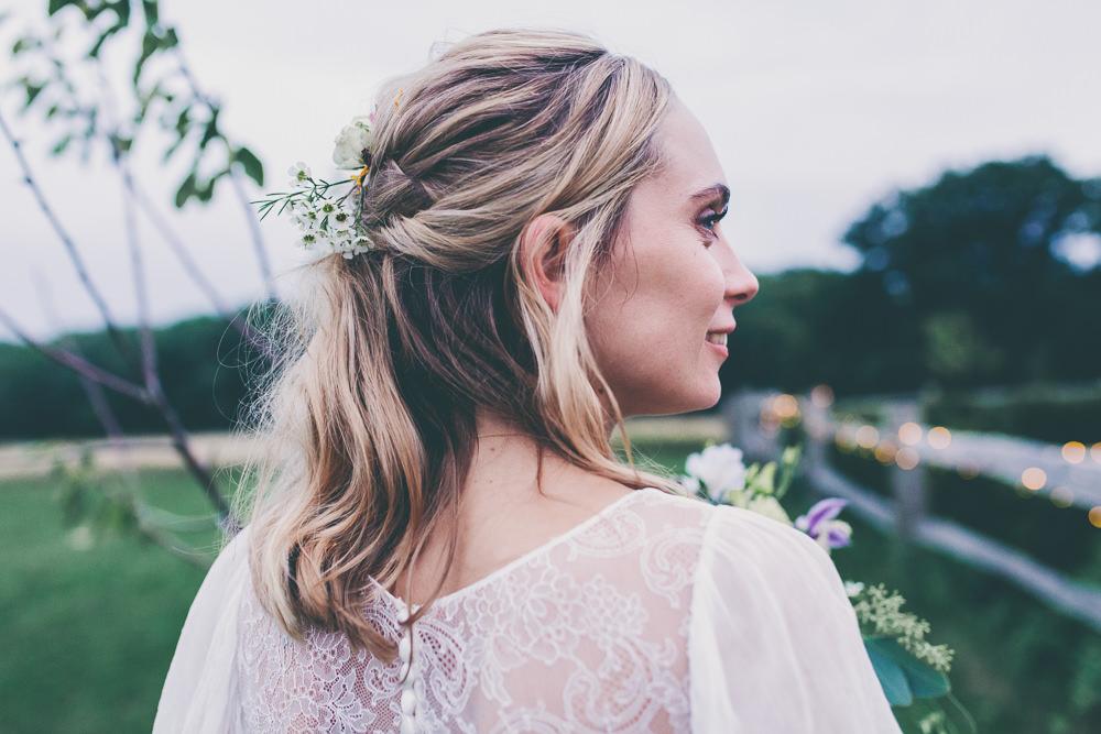 Bride Bridal Hair Style Half Up Half Down Flowers High Billinghurst Farm Wedding Larissa Joice Photography