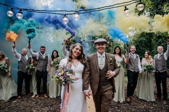 Smoke Bombs Hirst Priory Wedding Kazooieloki Photography