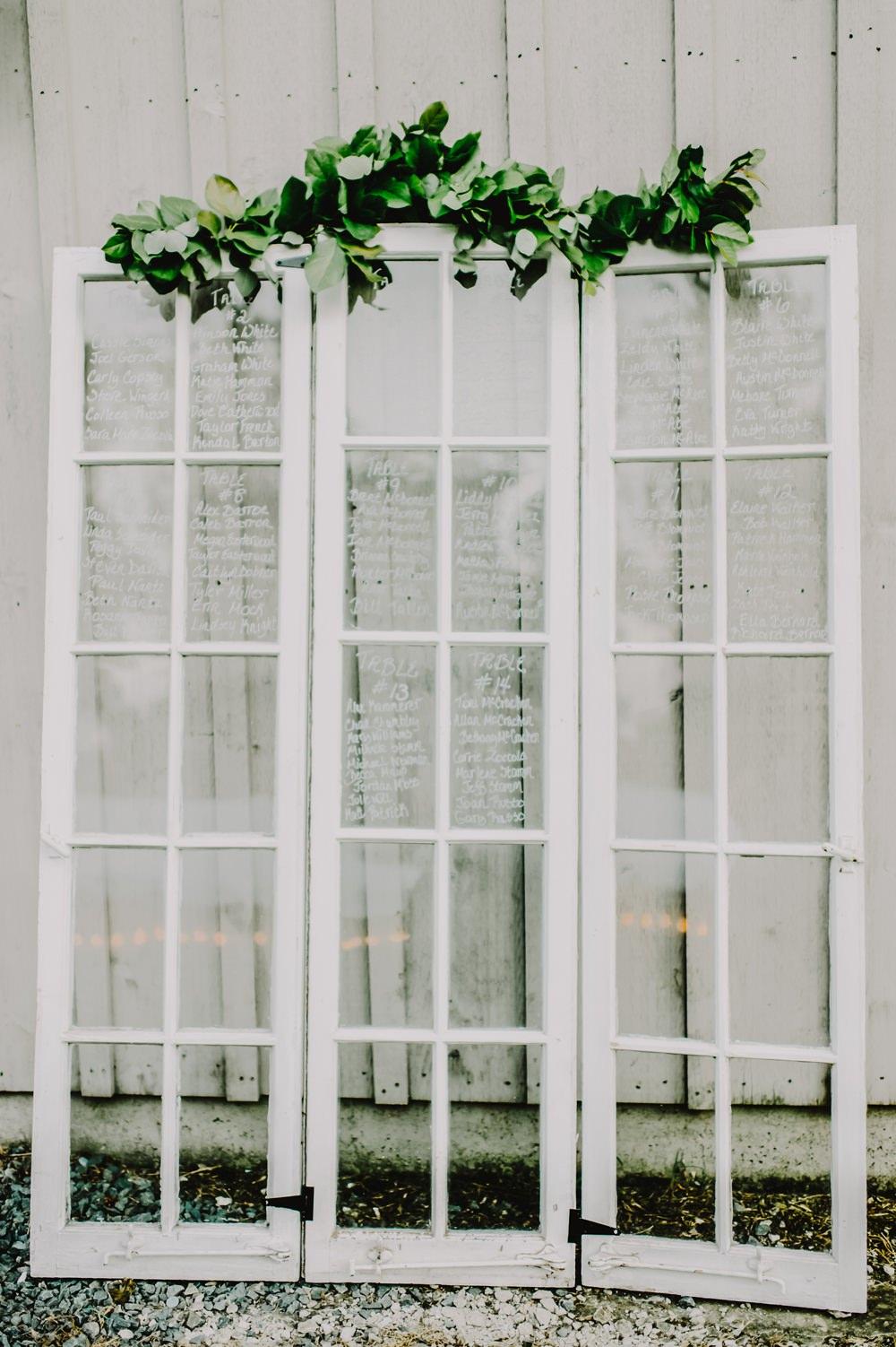 Window Glass Seating Plan Table Chart Greenery Maryland Wedding L. Hewitt Photography