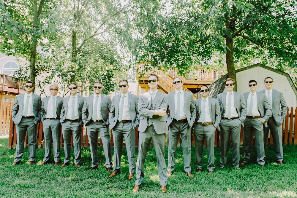 Groom Groomsmen Grey Suits Ties Green Maryland Wedding L. Hewitt Photography