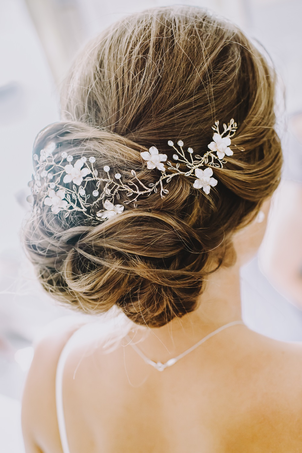 Bride Bridal Hair Style Up Do Rustic Accessory Vine Maryland Wedding L. Hewitt Photography
