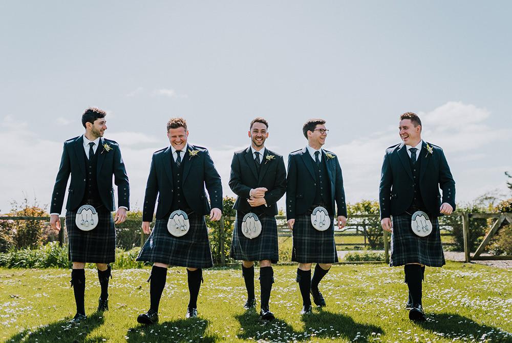 Kilt Groom Groomsmen Tropical Luxe Wedding Burfly Photography