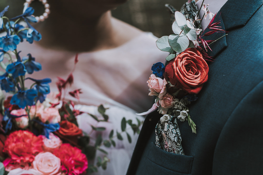 Groom Buttonhole Flowers Red Rose Eucalyptus Wes Anderson William Morris Wedding Ideas Jessica Hill Photography
