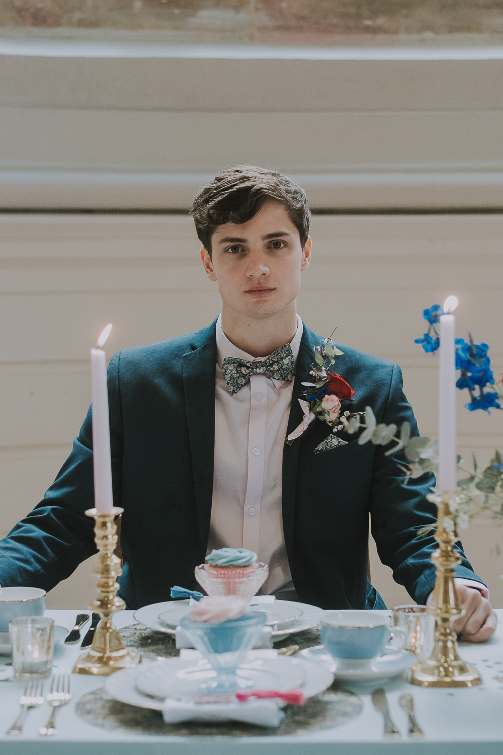 Groom Suit Navy Floral Bow Tie Wes Anderson William Morris Wedding Ideas Jessica Hill Photography